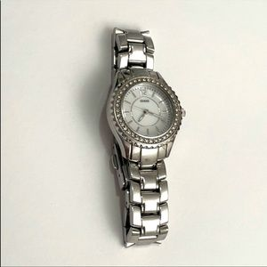 GUESS 💗 Silver Tone Crystal Face Watch